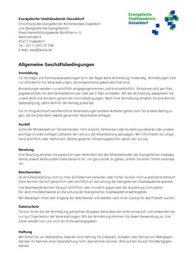 Allgemeine Geschäftsbedingungen der Evangelischen Stadtakademie Düsseldorf